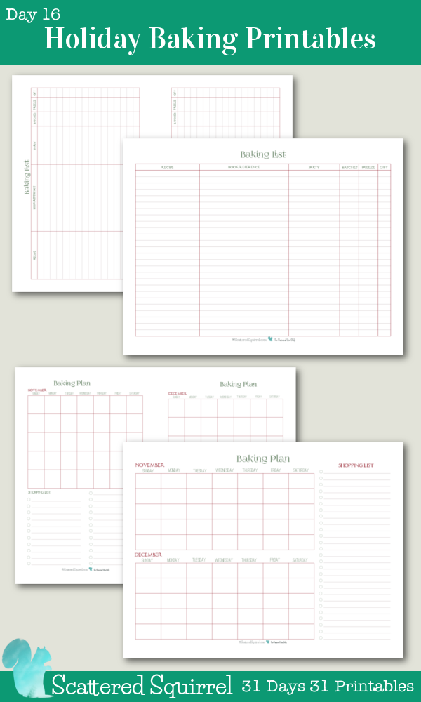 {31 Days 31 Printable} Day 16- Holiday Baking Printable Collection- I love baking for the holidays. The more goodies the better, I use these two printables to help me keep track of what I'm making and most importantly when I'm going to be making it. Starting early and spreading it out through a few weeks means that we have a great variety, but I'm not spending three or four days in the kitchen scrambling to get everything made.
