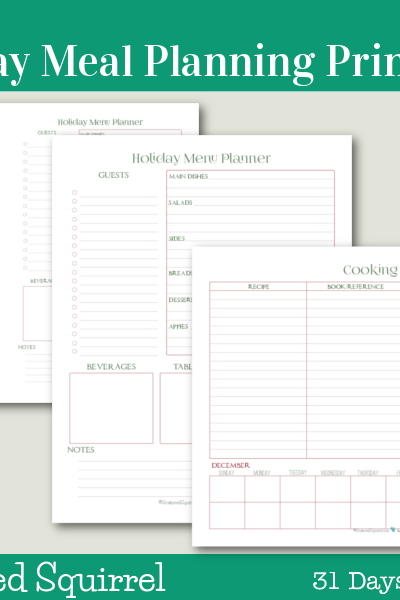 Day 17 - Holiday Meal Planner Printables- This collection of holiday meal planners will help you plan all aspects of your holiday meal.