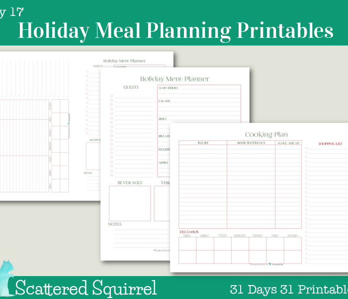 {Day 17} Holiday Meal Planner Printables