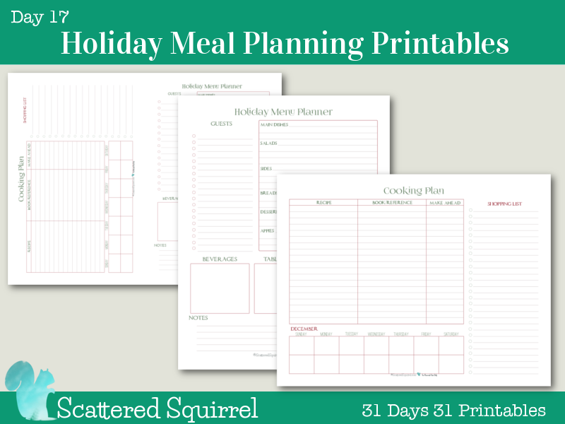 Day 17 Holiday Meal Planner Printables