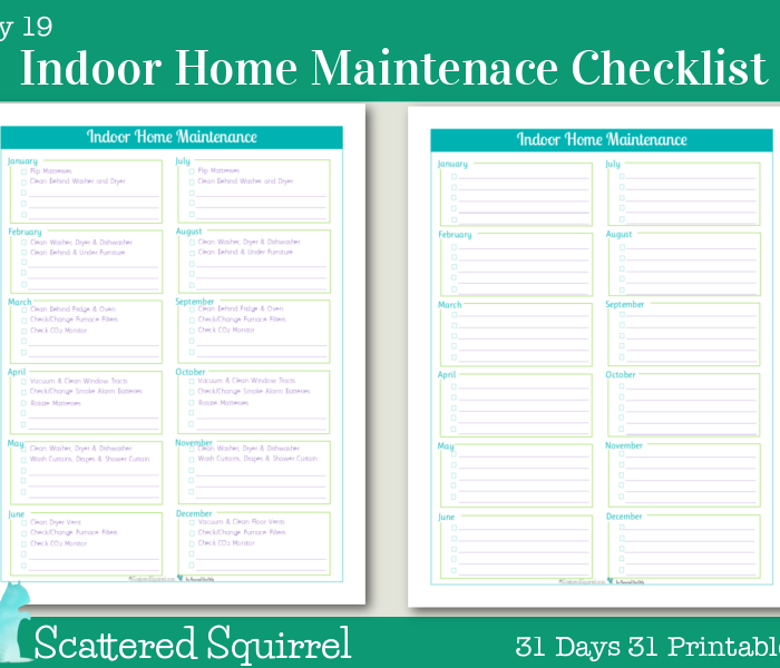 {Day 19} Indoor Home Maintenance Checklists