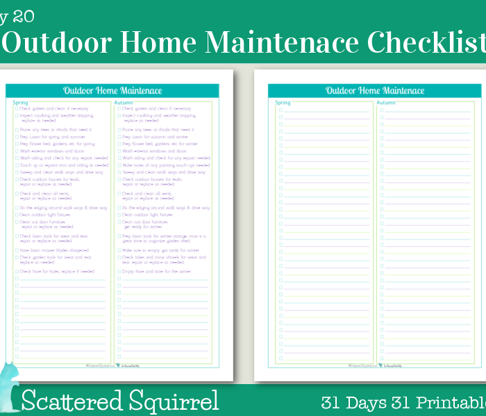 {Day 20} Outdoor Home Maintenance Checklists