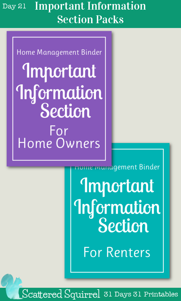 {31 Days 31 Printables} Day 21 - Important Information Section Printable Packs - these section pack each contain the three printables for the Important Information Section of my home managment binder; important information, emergency contacts and important account information.