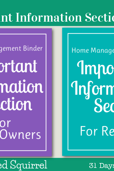 Day 21 - Important Information Section Packs - these section pack each contain the three printables for the Important Information Section of my home managment binder; important information, emergency contacts and important account information.