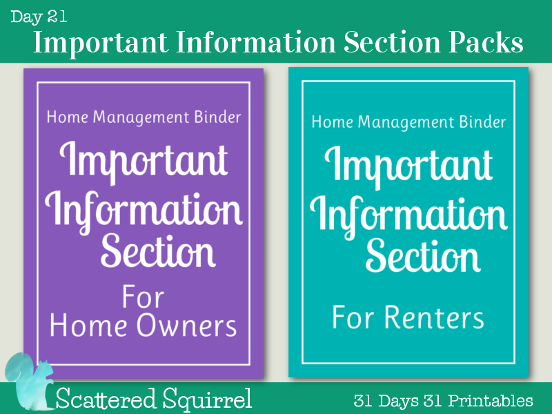 {Day 21} Important Information Section Printables