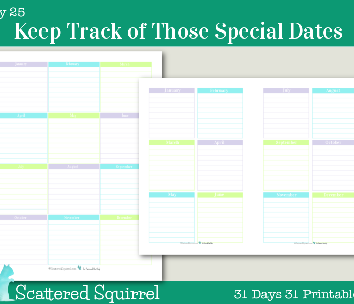 {Day 25} Keep Track of those Special Dates Printables