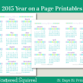 Day 26 - 2015 Year on a Page Printable Calendars. See the whole year at a glance with one of these handy year on a page printables. Choose from full or half-size.