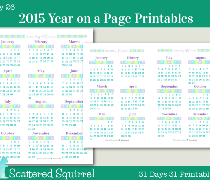 {Day 26} 2015 Year on a Page Printable Calendars