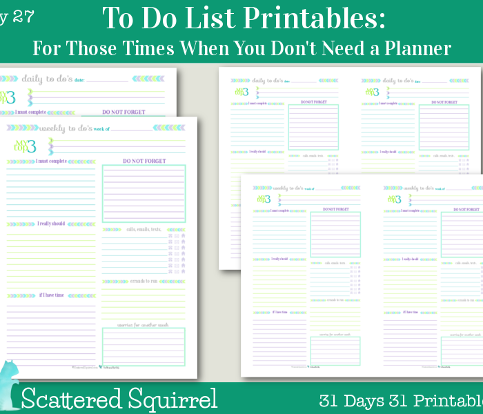 {Day 27} To Do List Printables
