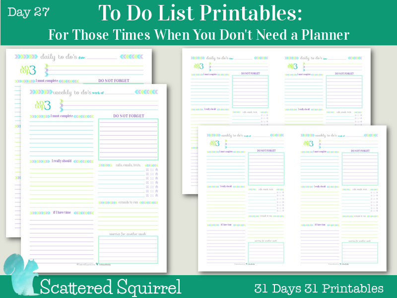 Day 27: To Do List Printables For Those Times When You Don't Need a Planner. Both the daily and weekly to do list printables come in full and half-size, use in conjunction with your usual planner or on their own.