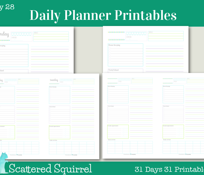 {Day 28} Daily Planner Printables