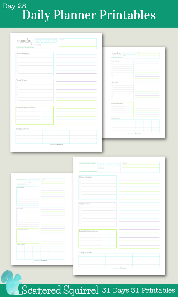 {31 Days 31 Printables} Day 28 - Daily Planner Printables: These printables are perfect for keeping track of routine things you do every day. Log water consumption and exercise, plan your meals, routine housekeeping tasks, work/school to do's, errand to run appointments to keep, there is even room to jot down the activities your family is up to that day. Use the lined section on the right hand side for note, an extra to do list, a shopping list or as an agenda.