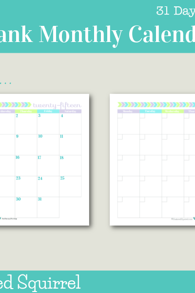 Day 3 - Printable Blank Monthly Calendar: This one starts on a monday.
