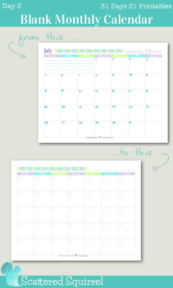 {31 Days 31 Printables} Day 3: Blank Monthly Calendar Printable. This blank monthly calendar printable came together at the request of one of my lovely readers who was looking for an undated calendar with weeks starting on Monday. I love it!