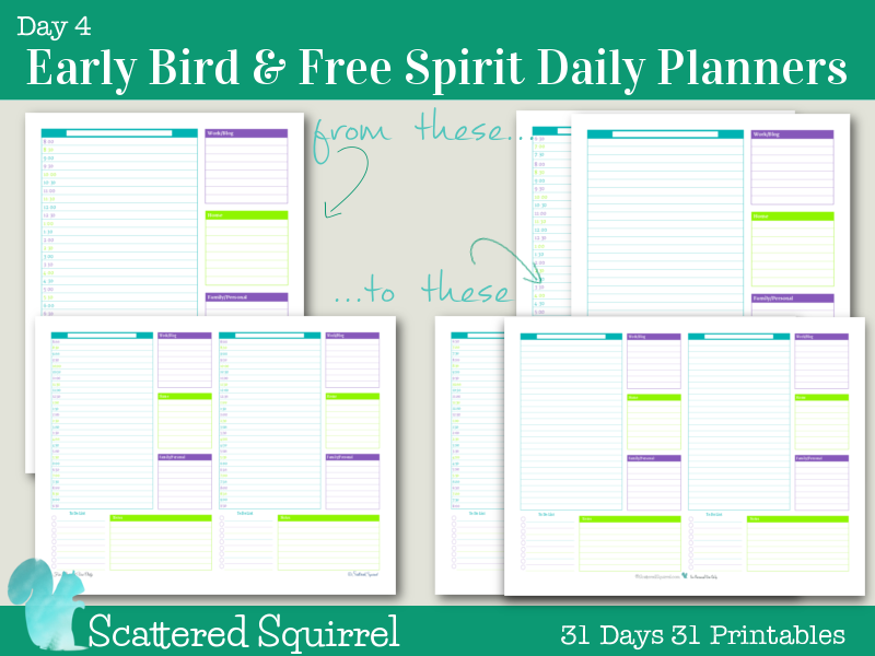 Day 4 early bird free spirit daily planners scattered for Daily planner maker