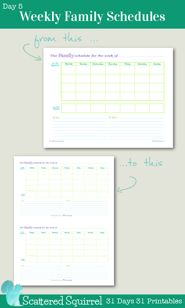 {31 Days 31 Printables} Day 5- Weekly Family Schedules, Half Size Addtion. This handy weekly family schedule printable has been shrunk to fit into mini binder, arc junior notebooks, and other A5 sized planners. Keep track of where your family needs to be and what needs to be done, list out your weekly to dos, and even jot down the weekly shopping list, all in one handy place.