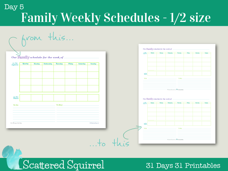 day 5 weekly family schedules printable at your request ive shrunk down