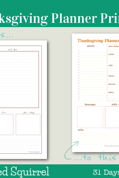 Day 6 - Thanksgiving Planner: Use this handy printable to plan your Thanksgiving get together. Keep track of everything from the menu and guests, to decoration ideas.