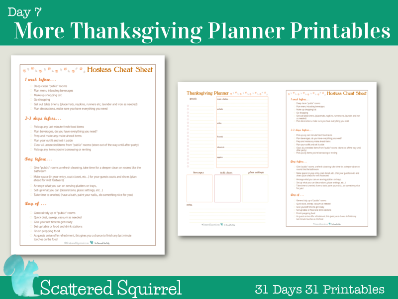 Day 7 - More Thanksgiving Planners: This hostess cheat sheet keeps me sane when I'm planning a larger gathering. I decided to shrink it, and pair it up with a half-size version of my thanksgiving planner for anyone who wants a half-size holiday planner.