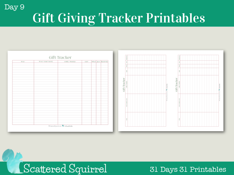 Day 9- Gift Giving Tracker. Keep track of all things related to gift giving. Who you bought what for, where you bought it, how much you spent, and whether you've wrapped and sent it, and even if it has been received.