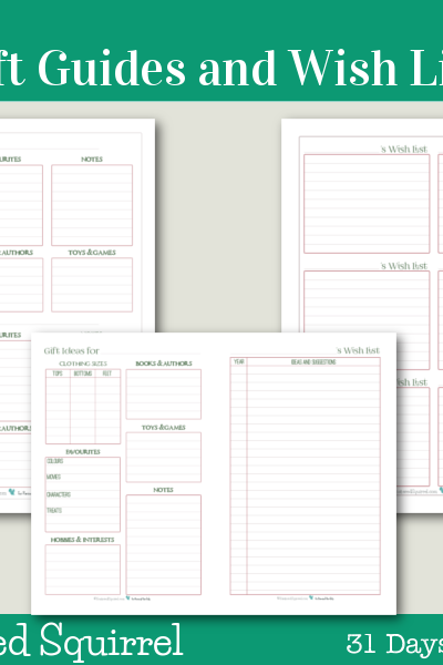 Day 8 - Holiday Planner Printables - Use these printables to stay on top of all your gift giving this holiday season. Keep all the info you might need right at your fingers tips to help make choosing or making the perfect gift a breeze.
