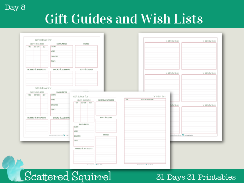 {Day 8} Holiday Planner Printables