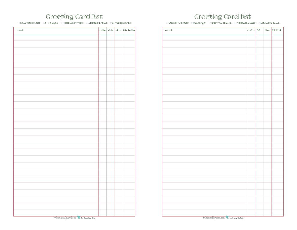 Use this printable to create a list of everyone you want to send a greeting card to this holiday season. You can keep track of if you have the card, a gift as well, was it sent and whether or not it was received