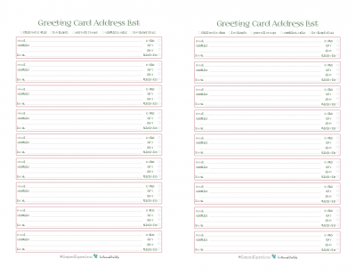 This handy printable is an address book and tracker all in one. Keep addresses all in one place and check off whether you've sent each person a card and/or gift and whether or not they have received it.