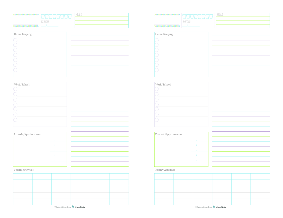 These half-size daily planner printables are a great way to keep track of routine things you do every day. Log water consumption and exercise, plan your meals, routine housekeeping tasks, work/school to do's, errand to run appointments to keep, there is even room to jot down the activities your family is up to that day. Use the lined section on the right hand side for note, an extra to do list, a shopping list or as an agenda.