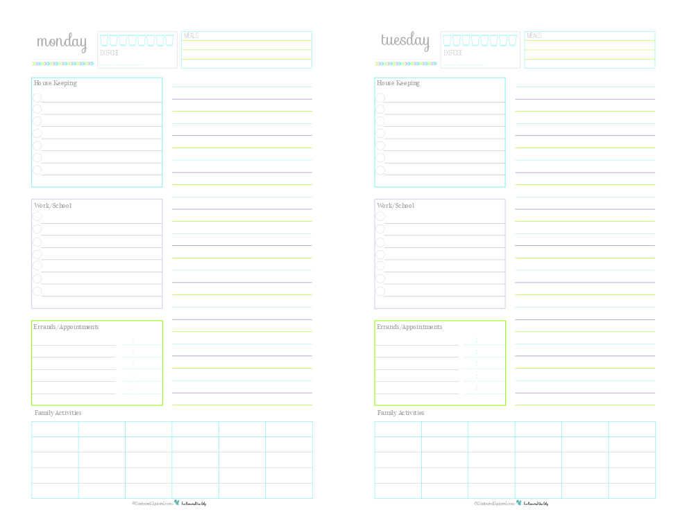 A collection of 7 Half-Size Daily Planner Printables for keeping track of routine things you do every day. Log water consumption and exercise, plan your meals, routine housekeeping tasks, work/school to do's, errand to run appointments to keep, there is even room to jot down the activities your family is up to that day. Use the lined section on the right hand side for note, an extra to do list, a shopping list or as an agenda.