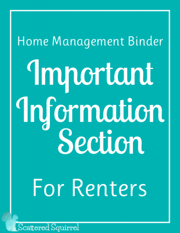This Important Information for Renters Section pack includes three printables for you to use to organize important information pertaining to your home.