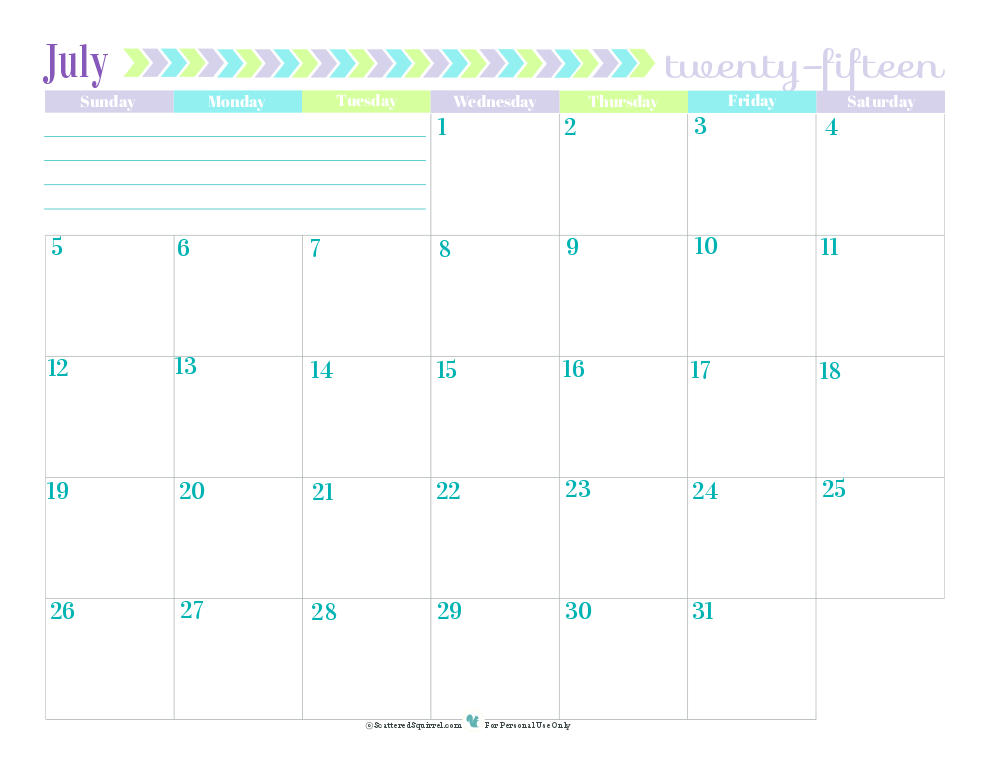 July Dated Calendar
