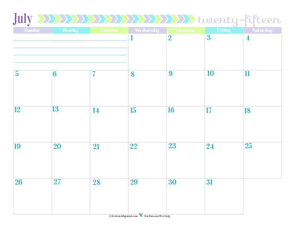 July Dated Calendar