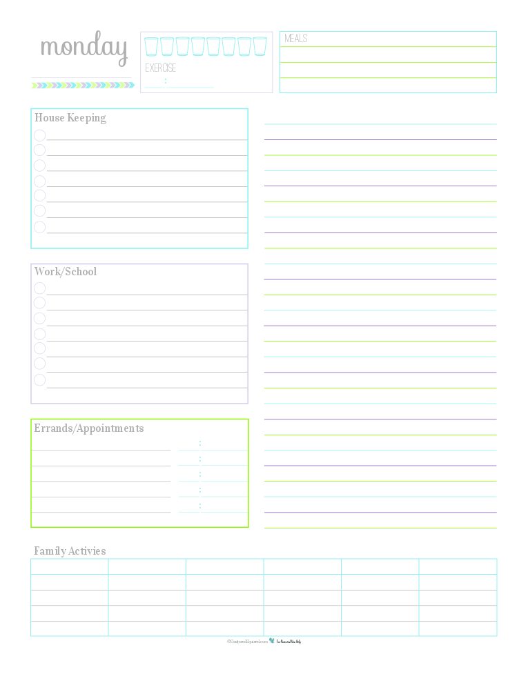 A collection of 7 Daily Planner Printables for keeping track of routine things you do every day. Log water consumption and exercise, plan your meals, routine housekeeping tasks, work/school to do's, errand to run appointments to keep, there is even room to jot down the activities your family is up to that day. Use the lined section on the right hand side for note, an extra to do list, a shopping list or as an agenda.