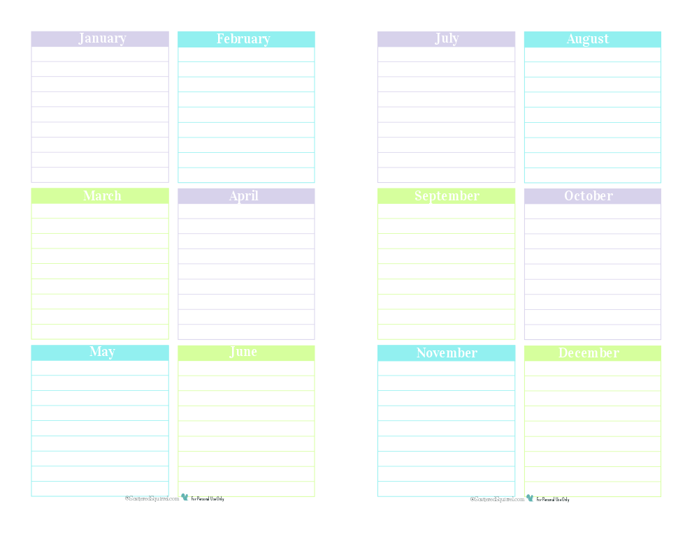 Use this half-size printable planner page to keep track of those special dates that occur every year.