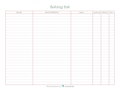 Use this handy printable to keep track of what goodies you want to make this holiday season, and what you're planning to do with them.