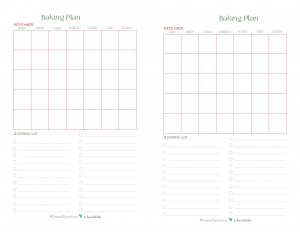 Use this baking plan printable to help plan out when you're going to do your holiday baking. The shopping list makes it great to jot down ingredients you'll need as you make up your plan and the half -size layout makes it a great take along when you're out doing the shopping.