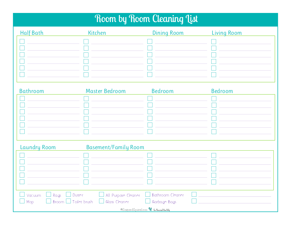 Keep track of non daily cleaning tasks for each room with this handy room by room cleaning checklist.