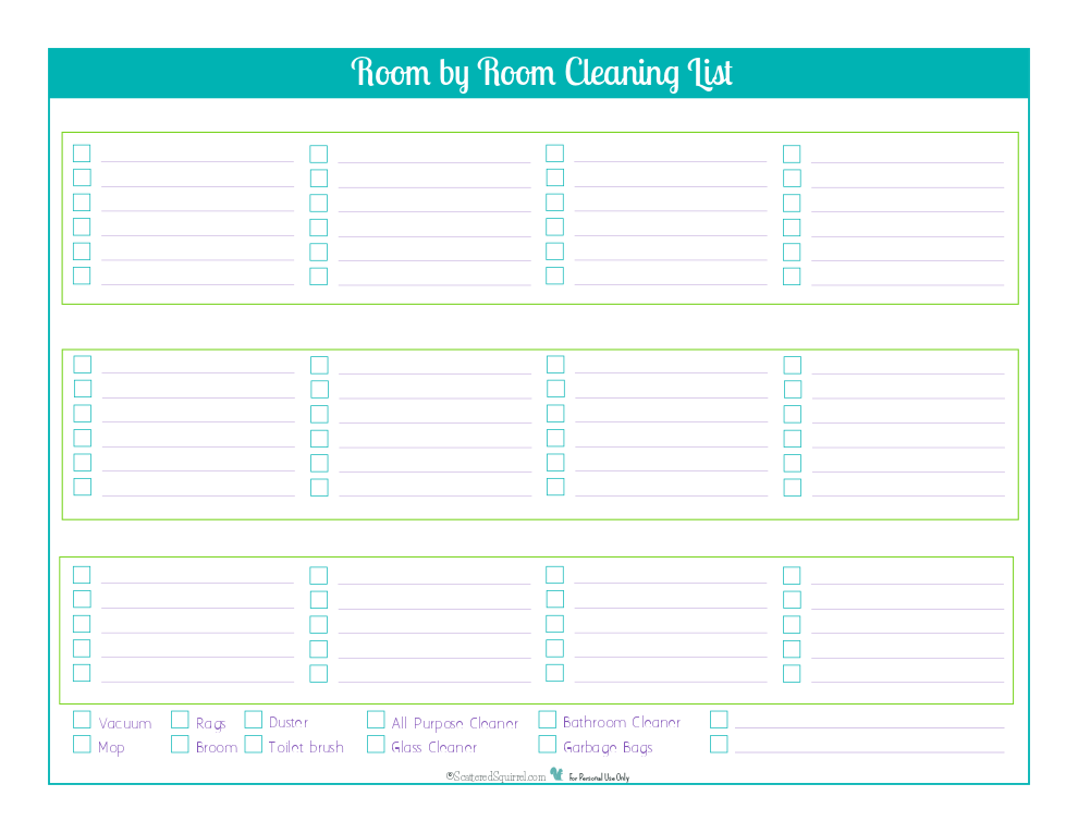 Decide what tasks and what rooms you want on this handy cleaning checklist printable.