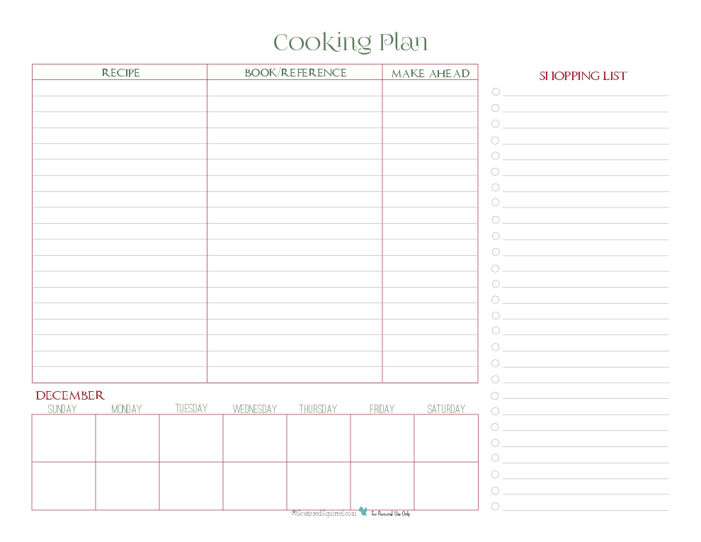 The cooking planner printable is perfect for planning your holiday meal, included planning for those dishes you can make a head of time.