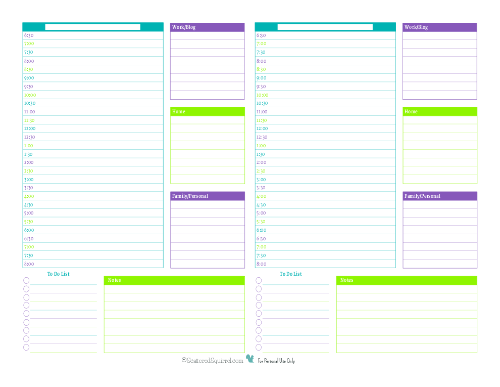 This half size planner starts at 6:30 am, perfect for anyone who needs to get an earlier start to their day.
