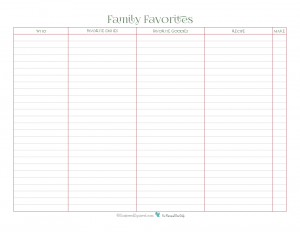 This handy little printable will help you keep track of all your family's favourite holiday dishes and goodies, so you can make sure to include something everyone will like,