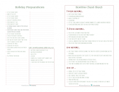 Half-size versions of the holiday preparations and hostess cheat sheet checklist printables. Use both to help keep the holiday season as stress free as possible.