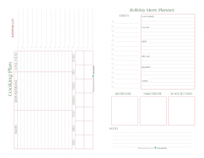 This half-size planner page features the cooking plan and holiday menu planner pages. Use these two to plan and organize your holiday meal so you can spend more time enjoying being with your family and friends.