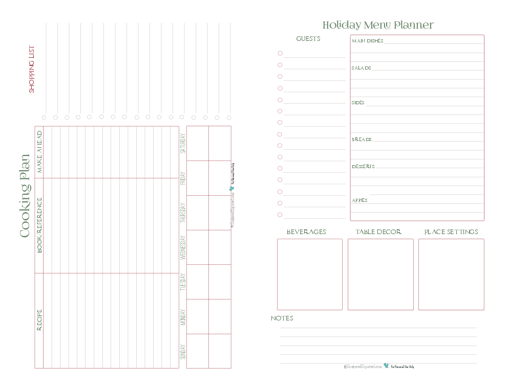 this half size planner page features the cooking plan and holiday menu planner pages