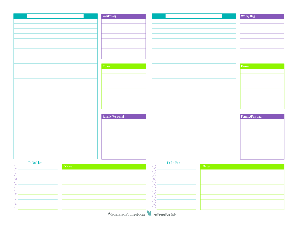 this half size blank daily planner printable is perfect for anyone who has to organize