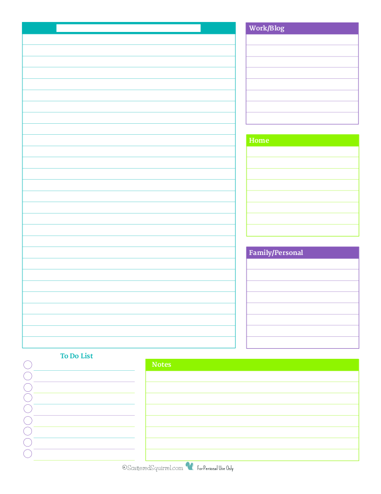 This blank daily planner printable is perfect for anyone who has to organize their days around wonky hours, or for those who just don't want any time constraints.