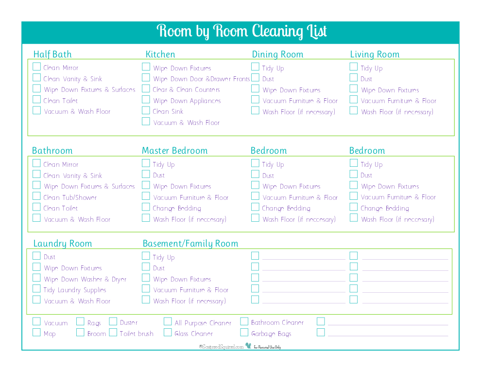 Do your cleaning room by room and keep track of what you've done with this handy room by room cleaning checklist.