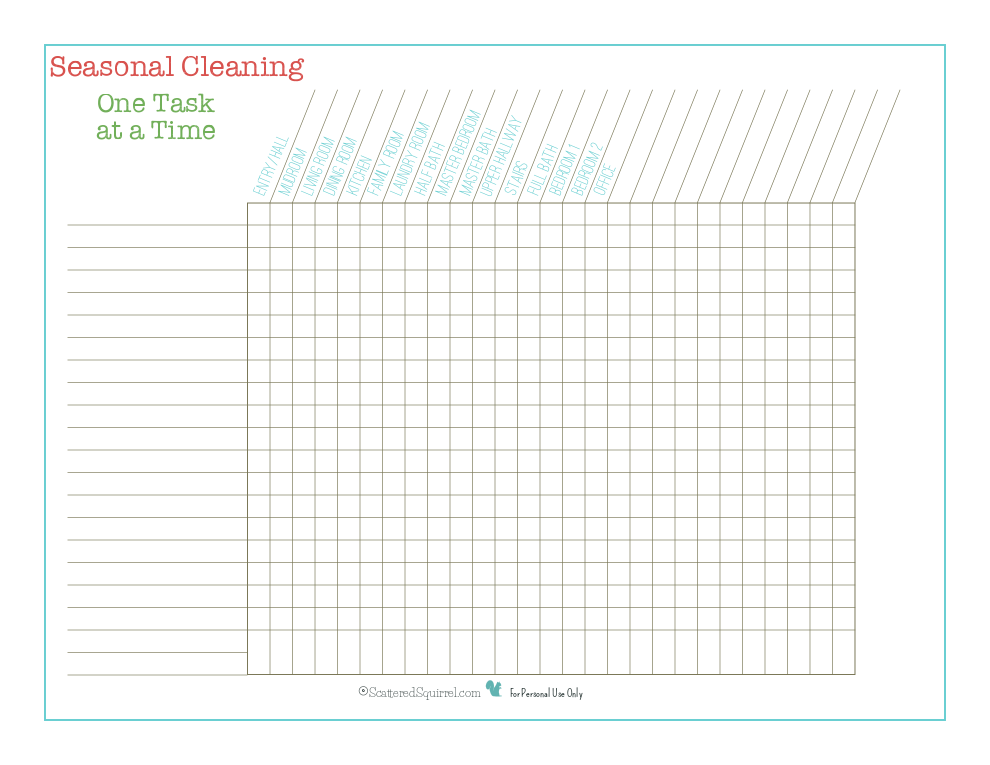 Add your own tasks to this seasonal cleaning checklist.