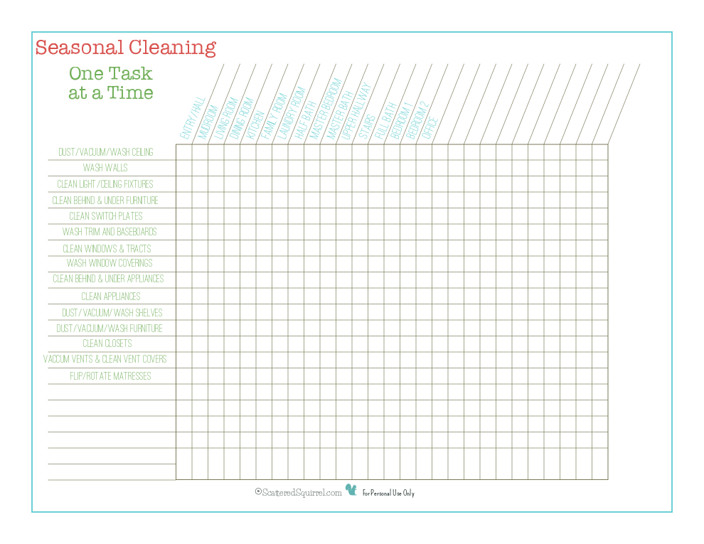 Whether you are going to do one task a day through all rooms, or just want something to keep track of what seasonal cleaning tasks have already been completed, this is seasonal cleaning checklist is here to help.